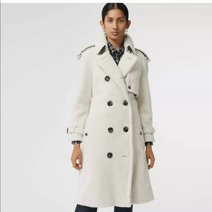 Burberry white shearling leather fur trench coat